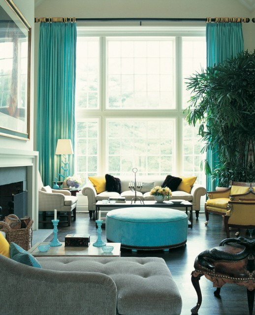 Colorful-turquoise-and-yellow-living-room